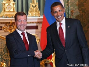 President Obama and Russian President Dmitry Medvedev met in Moscow on Monday.