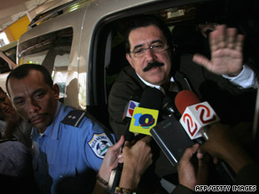 Ousted President Jose Manuel Zelaya talks to reporters in Nicaragua after being denied entry to Honduras.