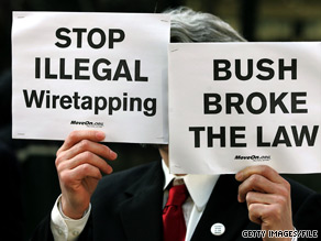 A demonstration in Chicago in 2006 protests the Bush administration's wiretapping program.