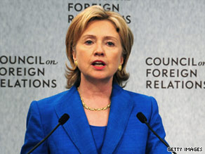 Secretary of State Hillary Clinton delivers a foreign policy address Wednesday.