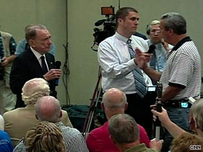 Sen. Arlen Specter, left, answers questions Tuesday during a forum in Lebanon, Pennsylvania.