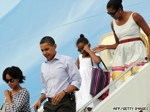 The Obamas arrive at Martha's Vineyard on Sunday.