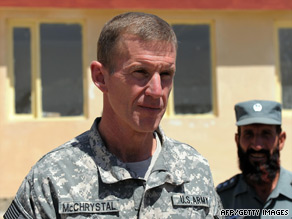 Gen. Stanley McChrystal visits an Afghan National Police compound. He called for a change of strategy Monday.