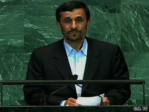 Iranian President Mahmoud Ahmadinejad addresses the 64th United Nations General Assembly Wednesday.