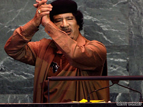 Libyan leader Moammar Gadhafi addresses the U.N. General Assembly on Wednesday.