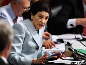 Republican Sen. Olympia Snowe announces her support for a health care bill Tuesday before the committee vote.