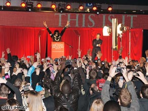 Fans clamor in London as Michael Jackson announces his return to performing.