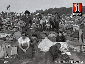 An estimated 400,000 people attended the Woodstock music festival in Bethel, New York, in August 1969.
