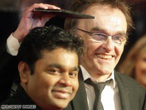 Composer A.R. Rahman, left, and director Danny Boyle arrive Sunday at the BAFTA ceremonies in London.