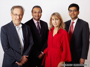 From left to right, Steven Spielberg, Anil Ambani, Stacey Snider and Amitahb Jhunjhunwala.