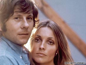 Roman Polanski and Sharon Tate are pictured together in London in the 1960s.
