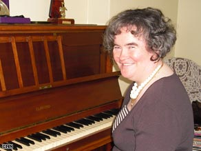 Susan Boyle at home with her piano.