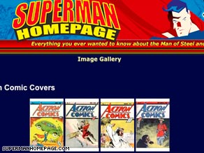 A Superman Web site features Action Comics covers, including No. 1, at left.