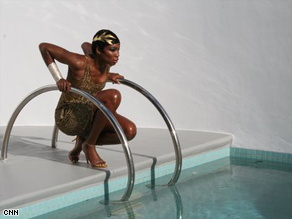 Venus Williams steps off the tennis court and into the pool in a series of photos to be featured in Italian Marie Claire.