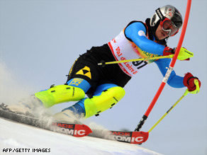 Fatemeh Kiadarbandsari, competing at last month's World Ski Championships, in France.