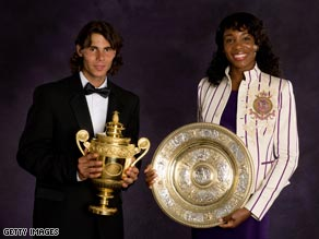 Rafael Nadal and Venus Williams parade their winning trophies from Wimbledon last year.