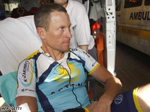 Armstrong cut a desolate figure after his painful crash in Spain last month.