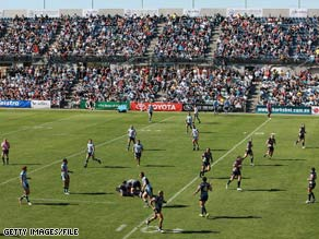 The Cronulla Sharks and the North Queensland Cowboys play on April 19 in Adelaide, Australia.
