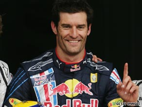 Webber celebrates securing the first pole position of his career for Sunday's German Grand Prix.