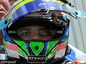 Felipe Massa after the crash at the Hungaroring.