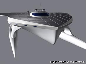 'Planet Solar' would be the world's fastest fully solar-powered boat and is projected to cross the Atlantic in two weeks.