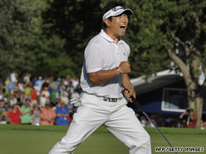 Y.E. Yang of South Korea wins on Sunday at the U.S. PGA Championship in Chaska, Minnesota.