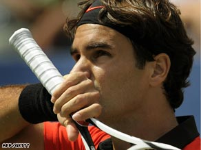 Federer was largely untroubled in beating the wildcard Britton at Flushing Meadows.