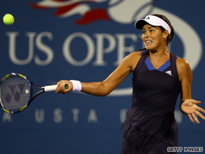 Ana Ivanovic returns a shot against Kateryna Bondarenko during day two of the 2009 U.S. Open.