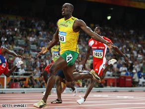 Bolt left his rivals traiing in winning 100 meters gold in Beijing in a world record time.
