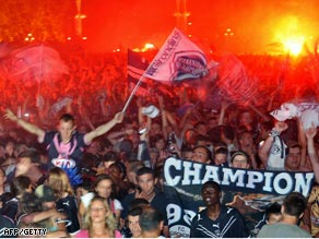 Bordeaux's fans celebrate their first French league title in 10 years.