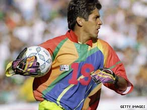 Mexico goalkeeper Jorge Campos was known for his colorful shirts during the 1990s