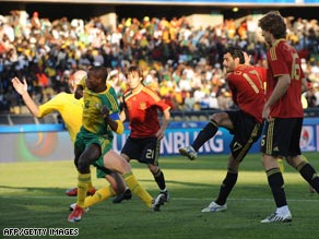 Substitute Daniel Guiza, No. 17, fires home his first goal in Spain's 3-2 victory against South Africa.