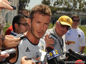 David Beckham faced a media scrum on his return to training with Los Angeles Galaxy.