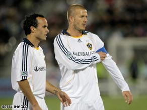 Beckham says he has made his peace with Galaxy teammate Donovan (left).