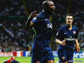 William Gallas celebrates scoring Arsenal's opening goal in their 2-0 Champions League victory at Celtic.