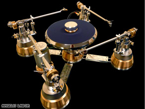Angelis Labor's Gabriel turntable is made from bronze and steel and can be customized with up to four arms.