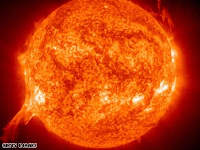 The exploding star was up to 100 times larger than our own sun, pictured above.