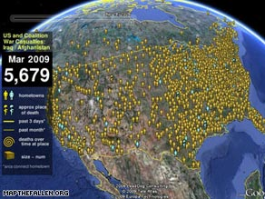 With the Google Earth layer, users can click on service members' names, hometowns and profiles.
