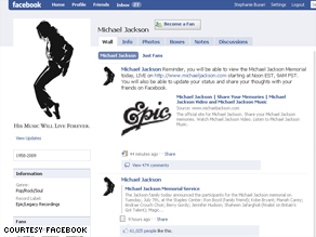 The Michael Jackson Facebook page is now the most popular on the social networking site.