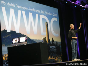 Steve Jobs gives a speech at last year's WWDC. Jobs will not be emceeing in 2009.