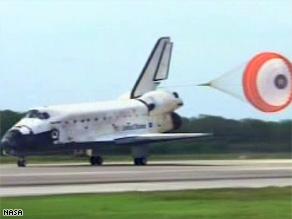 The space shuttle Discovery returned to Kennedy Space Center on Saturday after a 12-day mission.