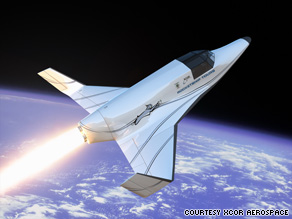 This is a rendering of XCOR Aerospace's Lynx, which would be used to send people on suborbital spaceflights.
