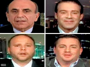 "Carl Bazarian, clockwise from left, Vince Spera, Alberto Panero and Brad Wentzell appeared on ""Larry King Live."""