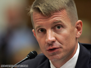 Blackwater founder Erik Prince testifies at a congressional hearing in October 2007.