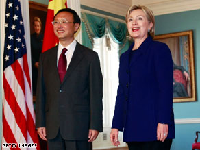 Chinese Foreign Minister Yang Jiechi and U.S. Secretary of State Hillary Clinton meet Wednesday in Washington.