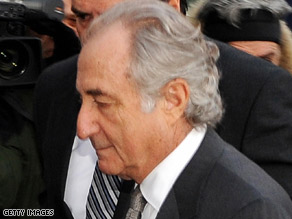 Bernard Madoff arrives at U.S. Federal Court on March 12, 2009, in New York City.