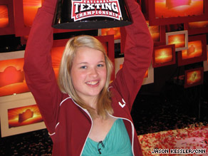 Kate Moore, 15, of Des Moines, Iowa, out-texted more than 250,000 participants for the texting title in New York.