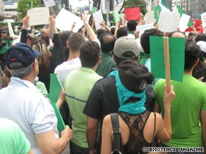 Crowds demonstrated in Los Angeles, California on Monday, June 15 over the Iran election results.