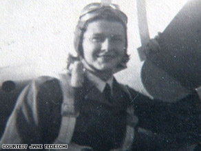 Jane Tedeschi when she was in the Women Airforce Service Pilots program. The WASPs were formed in 1942.