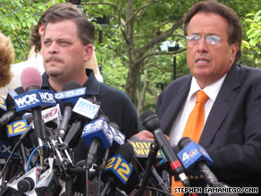 Daniel Schuler, left, and his attorney, Dominic Barbara, speak at Thursday's news conference.